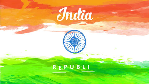 conceptual art design for india independence day holiday announcement with the national flag painted Animation