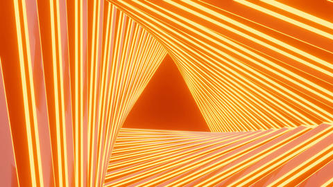 Orange rotating tunnel with triangle conclusion, rotation movement, video Animation