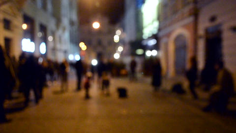 Blurred Background. Street musicians sing on the street of a European city Live Action