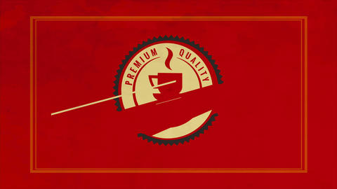 elegant red design of coffee product made with round drawing and a hot cup inside suggesting Animation