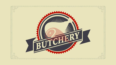 old school butcher shot graphic art composed with a cut pork leg on the center of a rounded design Animation
