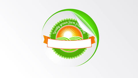 rounded healthy eco green good design originally formed with a tag like texture peel off a surface Animation