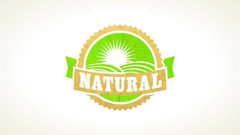 bio eco friendly stamp of natural organic food made on a leaf and recycled paper texture Animation