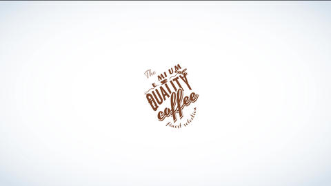 coffee product design with classic typography of different sizes distributed along a brown cardboard Animation
