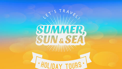 holiday vacations announcement design with sunshine coming out of summer typography over a with a Animation