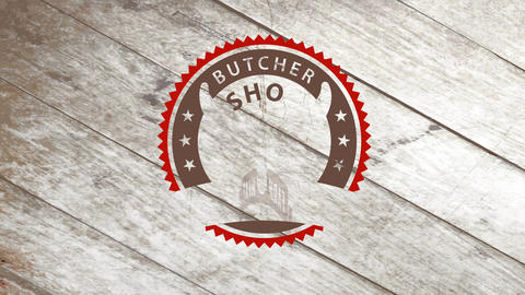 butchery store design set with a bulls head with big horns in the middle of a sharped pointy circle Animation