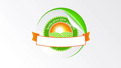 rounded healthy eco green products design originally conceived with a sticker like texture peeling Animation