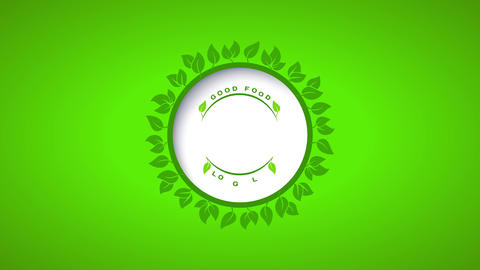 healthy food product design with vintage lettering inside a round leaf belt floating above a Animation
