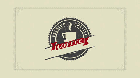 circle shape design for a high quality coffee product with old fashioned typography over a marble Animation