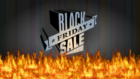 december shopping sale design with big 3d lettering with steel like texture getting burned above hot Animation