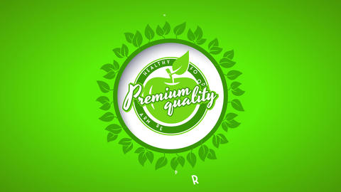 bio eco friendly label of green apple for fresh healthy organic food of premium quality Animation