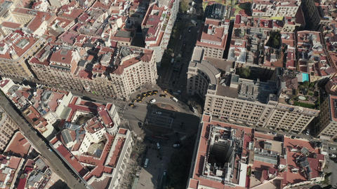 AERIAL: Overhead View of Typical Barcelona, Spain Intersection Live Action
