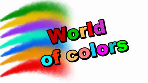 Multicolored animated inscription World of colors flying on multicolored Animation