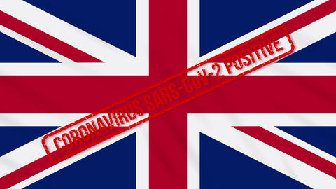 United Kingdom swaying flag stamped with positive response to COVID-19, loop Animation
