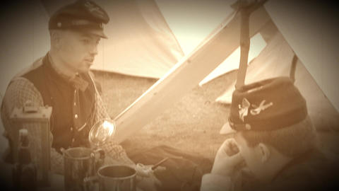 Life for Civil War soldier in a camp (Archive Footage Version) Live Action