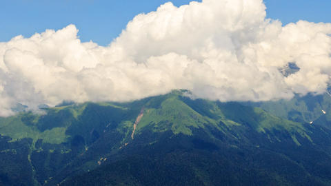 Clouds over the mountains. Psekhako Ridge. Time Lapse. Sochi, Russia Footage