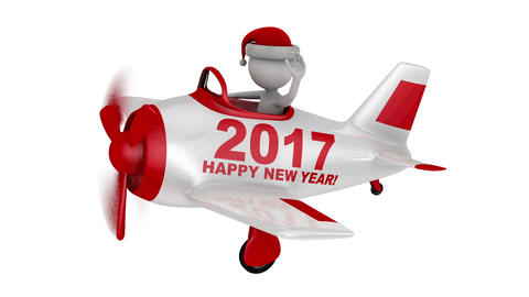 Santa in plane Happy New Year 2017 Animation