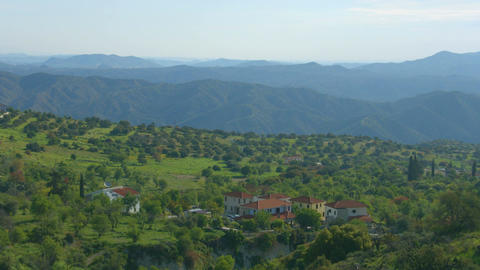 Horizontal panorama of village in Troodos Mountains, Cyprus. Beautiful landscape Footage