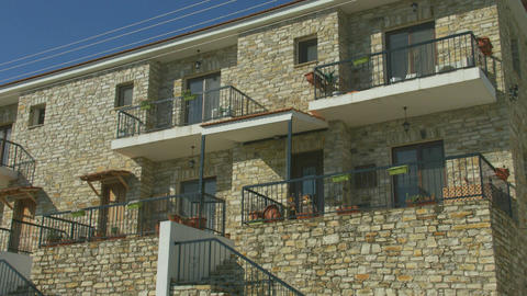 Vertical panorama of two story masonry building, country house at seaside resort Footage