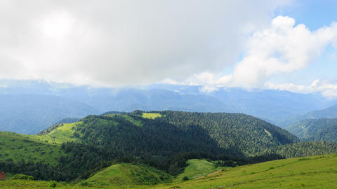 Wooded hill in the mountains. Panorama. TimeLapse. Sochi, Russia Footage