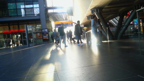 Timelapse of many people walking at railway station. Rush hour at airport hall Footage