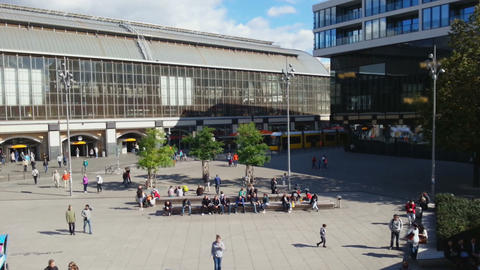 Time-lapse of busy city square with many people. Life in European megalopolis Footage