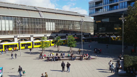 City tram arriving at Alexanderplatz, Berlin. People walking across the square Footage