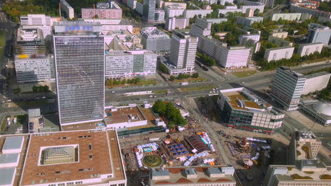 Aerial view of Berlin from TV tower, tiny people and traffic on road. Timelapse Footage