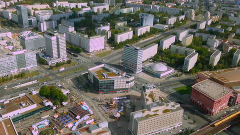 Amazing aerial view from Berlin Fernsehturm, TV tower. City life timelapse Footage