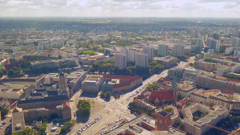 Aerial panorama of Berlin street traffic on sunny summer day, timelapse Footage