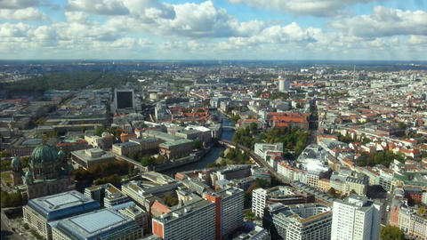 Amazing birds eye view of Berlin. Modern buildings, boats sailing on Spree river Footage