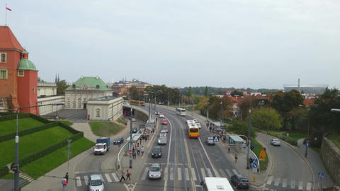 Time lapse of traffic and pedestrian crossing on a busy street in Warsaw, Poland Footage