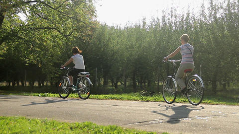 Women riding bicycles in municipal park. Healthy activity on summer vacation Live Action