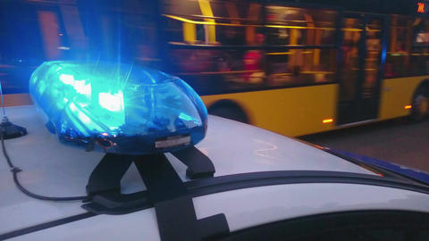 Closeup blinking strobe lights on police car, blue lightbar, emergency situation Footage