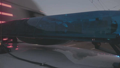 Emergency vehicle blue lights flashing, closeup. Police interceptor, ambulance Footage
