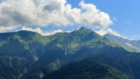Green Mountains in the clouds. HDR. Time Lapse. Sochi, Russia Footage