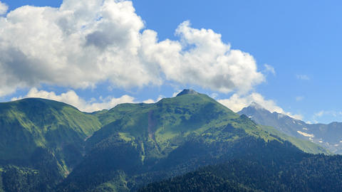 Clouds over the mountains. Panorama. HDR. Time Lapse. Sochi, Russia Footage
