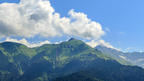 Mountains with clouds. Panorama. HDR. Time Lapse. Sochi, Russia Footage