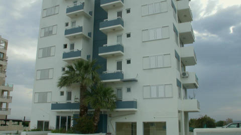 Empty high-rise dwelling house in resort city. Crisis on real estate rent market Footage