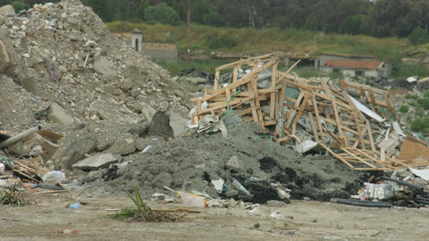 Terrible earthquake aftermath. Heap of demolished building pieces. Waste deposit Footage