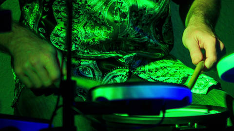Closeup Drummer Plays in Night Bar under Light Flashes Live Action