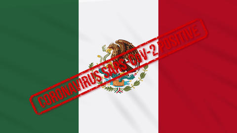 Mexico swaying flag stamped with positive response to COVID-19, loop Animation