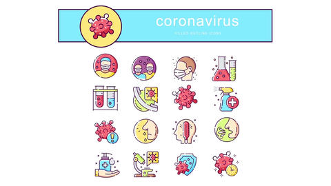 Coronavirus flat animation icons After Effects Template