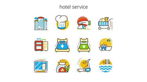 Hotel services flat animation icons After Effects Template