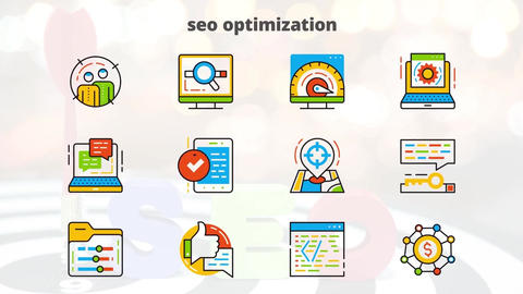 Seo optimization flat animated icons After Effects Template