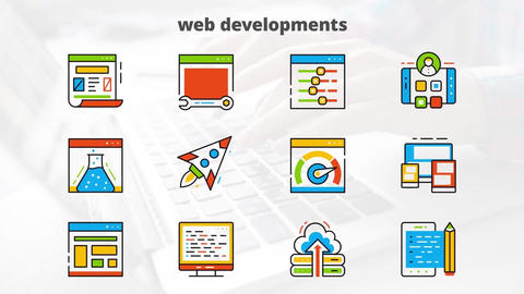 Web development flat animated icons After Effects Template