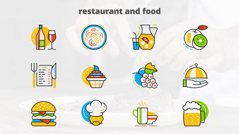 Restaurant food flat animated icons After Effectsテンプレート