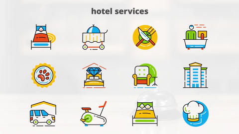 Hotel services flat animated icons After Effects Template