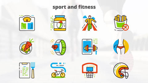 Sport and fitness flat animated icons After Effectsテンプレート