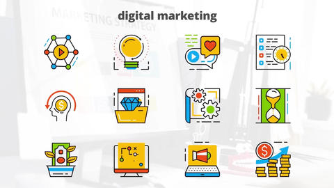 Digital marketing flat animated icons After Effects Template